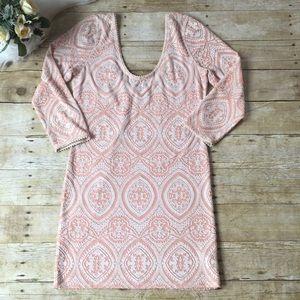 Free People Pink/Peach Brocade BodyCon Dress Sz Lg